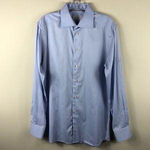 Eton of Sweeden L Blue Slim Dress Shirt 40 15.75
